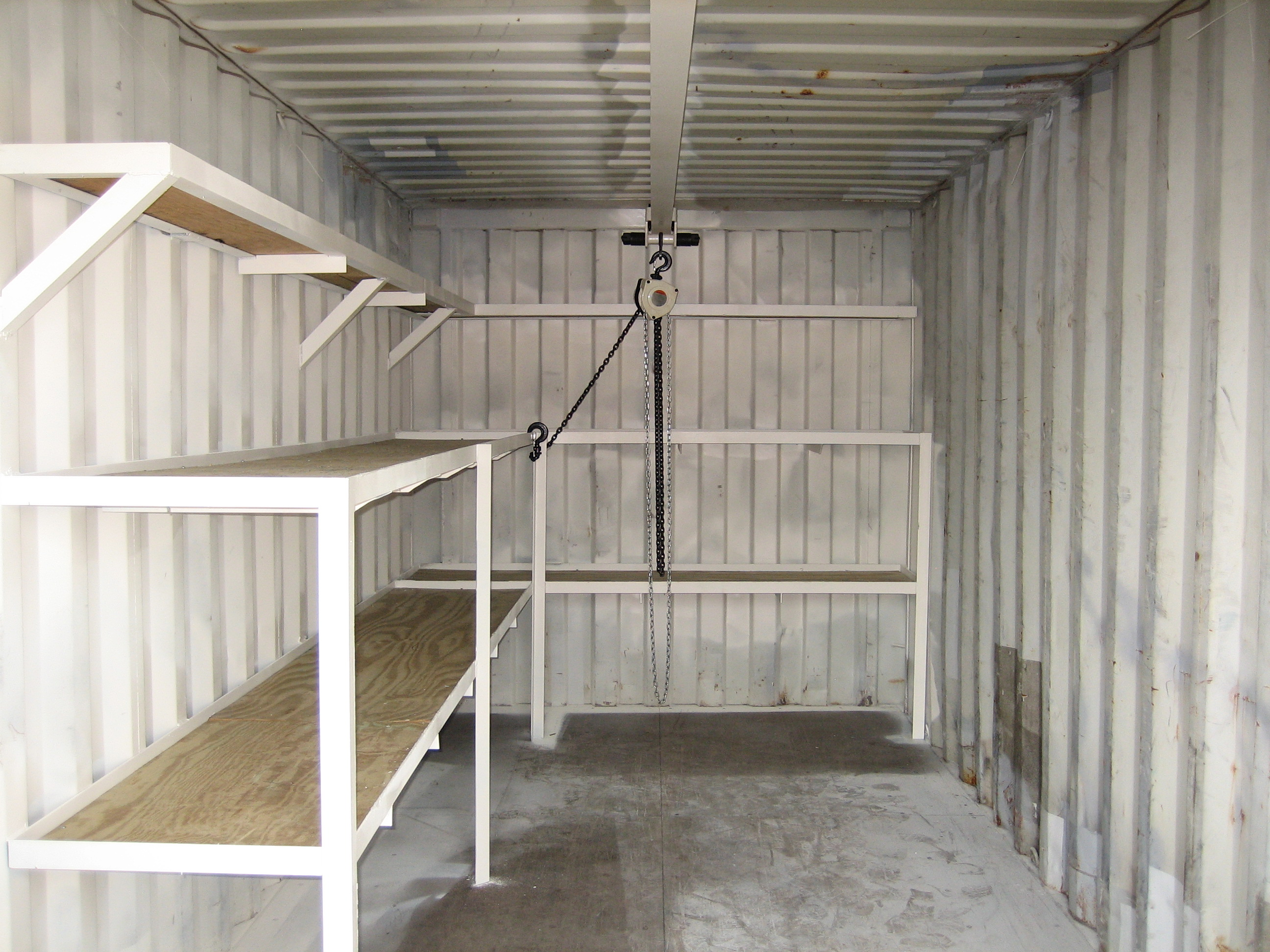 Used Container with Shelves & Chain Hoist
